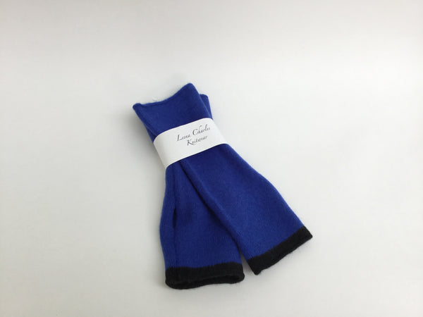 100% lambswool Cobalt Blue Wrist Warmers