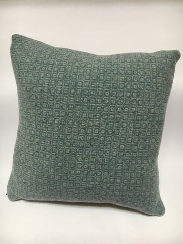 Knitted Merino Lambswool Cushion 40cm x 40cm  Ash Grey & Topaz cube design