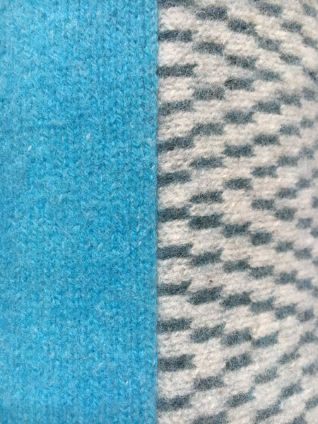 aqua blue and ash grey/air force blue herringbone