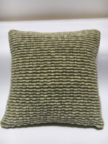 Knitted Merino Lambswool Cushion - 30cm x 30cm green and stone coloured individual design