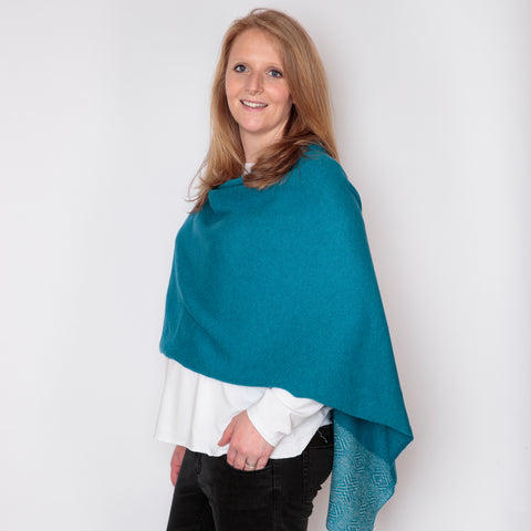 Patterned edged Kingfisher blue /Ash grey Merino Lambswool Poncho