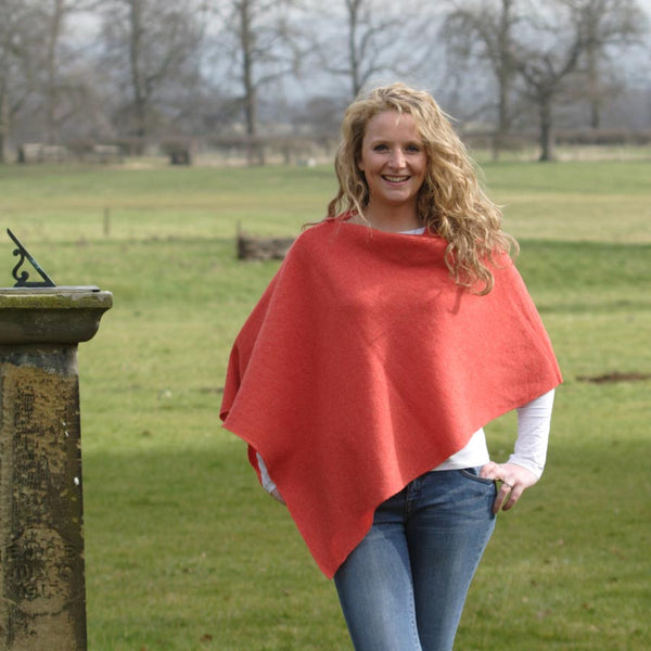 orange stylish British made merino lambswool poncho