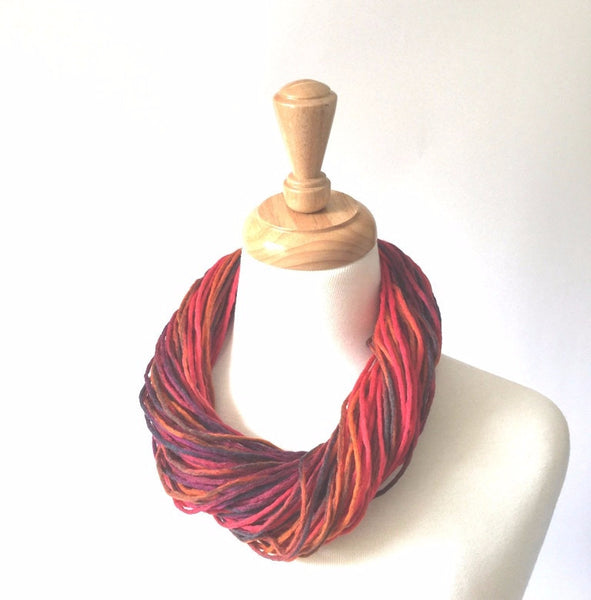 red merino lambswool necklace