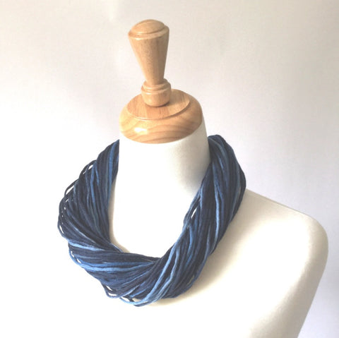 Merino Wool Twist Necklace - stonewashed denim - tonal blues