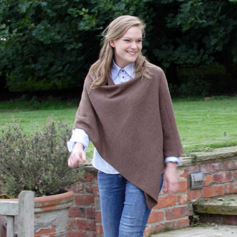 coco brown merino lambswool poncho