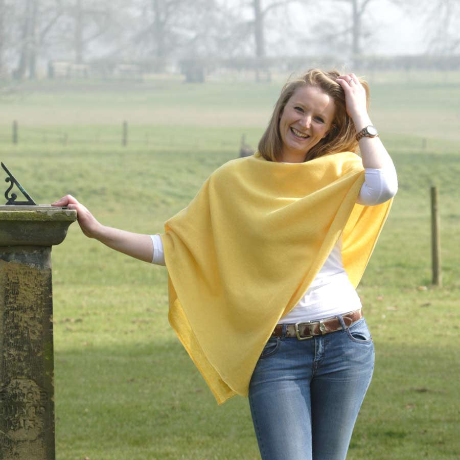 yellow  merino lambswool poncho
