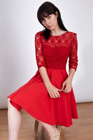 Red Dress perfect for Christmas season. Red lace dress for Christmas