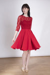 The Helena Mini Dress -Lace 3/4 Sleeve Short Dress - See through back in red. See-through back dress, lace 3/4 Length Sleeve, knee length. Red Lace Dress - Knee-Length  In a lovely floral lace featuring long sleeves and see-through back. Your new Helena Mini Dress will turn heads at your next daytime wedding or formal event! Lauren Lynn London Dress, Red dress, red lace dress, occasion red dress, Lovely mini skirt, Lauren Lynn dress