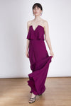 Amazing strapless maxi dress with ruffle and plunging neckline. Perfect for bridesmaids, wedding guests and special occasions. The Amelie Maxi dress have been made with high quality fabrics and is fully lined. you'll going to love the ruffle of this amazing purple dress! El vestido Amelie es perfecto para damas de honor, noches elegantes o simplemente para ser la invitada perfecta.  Este vestido largo tiene escote palabra de honor y un escote en V que lo hacen muy especial. El vestido esta completamente for
