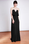 The Amelie Maxi Dress in Black - Strapless Evening Maxi Dress. Bandeau Maxi Dress with V neckline designed by Lauren Lynn London.  The Amelie Maxi Dress has a figure-flattering silhouette that will ensure you look stunning from every angle.