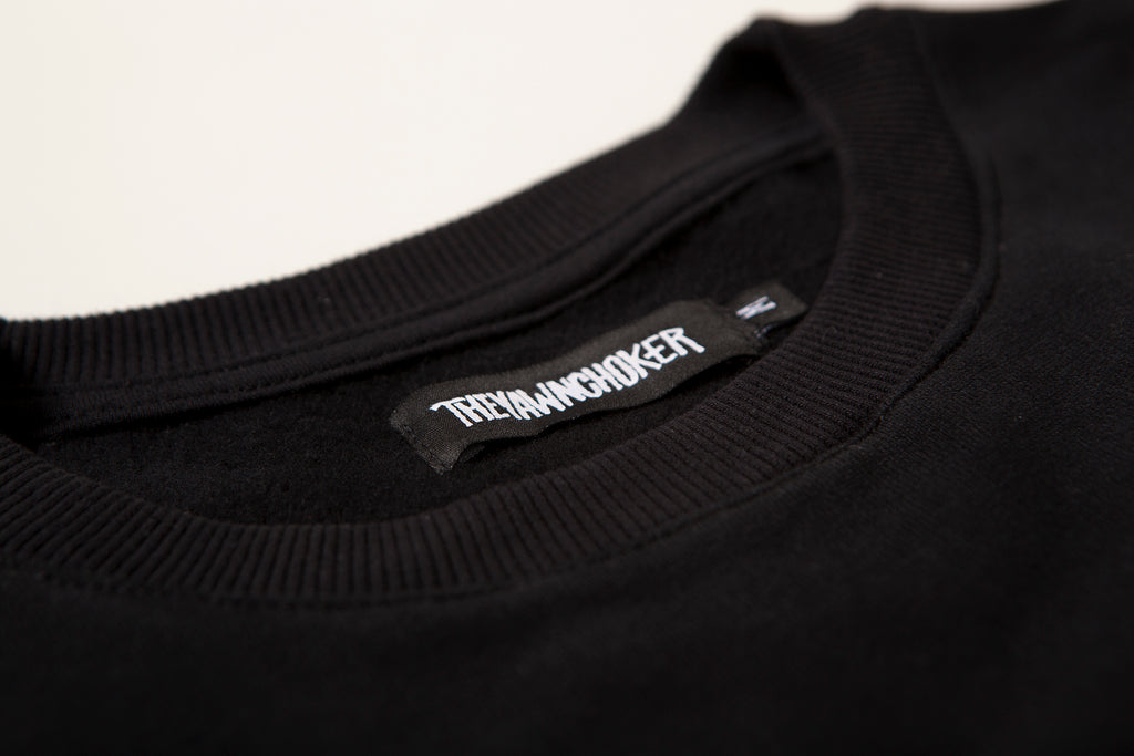 Authentic 3-Way Logo Crewneck/Black - TheYawnChoker