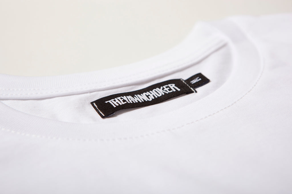 Authentic 3-Way Logo Tee/White - TheYawnChoker