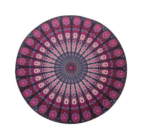 Summer round beach towel microfiber - Purple