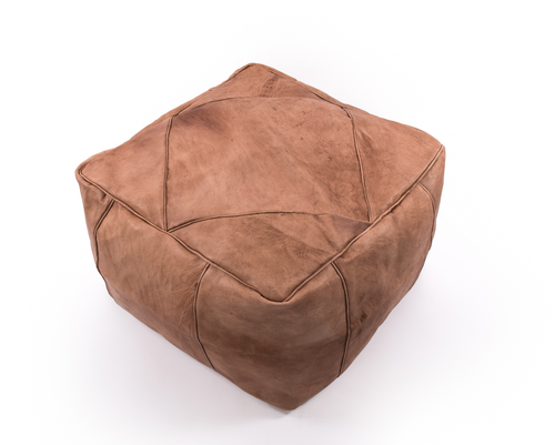 Contemporary Moroccan Leather Pouf