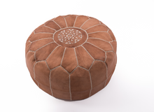Moroccan Chestnut Leather Pouf by Soul of Morocco