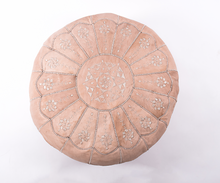 Natural Starburst Leather Pouf