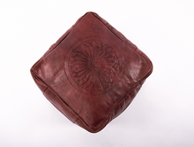 Tobacco Leather Pouf