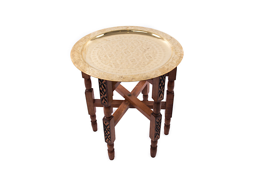 Moroccan handmade wood copper tea table