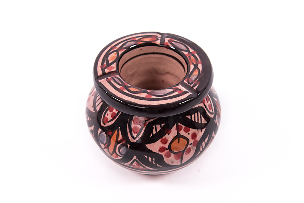 Moroccan Ashtray - Medium size - Black and red