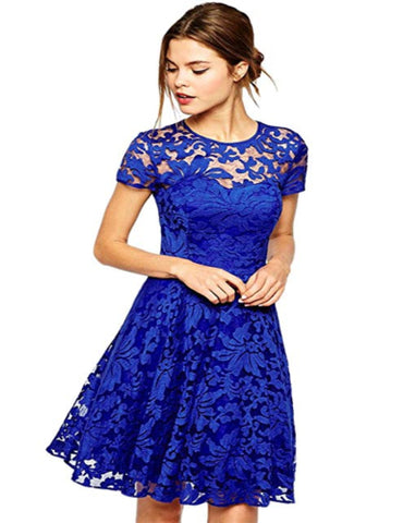 Amoluv Women Round Neck Short Sleeve Pleated Lace Slim Dress - RivPage.Com - Kenya