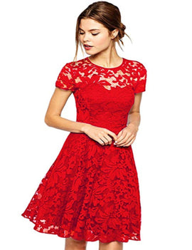 Amoluv Women Round Neck Short Sleeve Pleated Lace Slim Dress