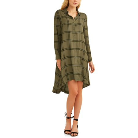 Time and Tru  Women's Hi Lo Plaid Shirt Dress 100% RAYON good for all weather - RivPage.Com