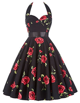 GRACE KARIN Women Vintage 1950s Halter Cocktail Party Swing Dress With Sash -RivPage.Com-Kenya