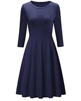 OUGES Women's 3/4 Sleeve Casual Cotton Flare Dress RivPage.Com-Kenya