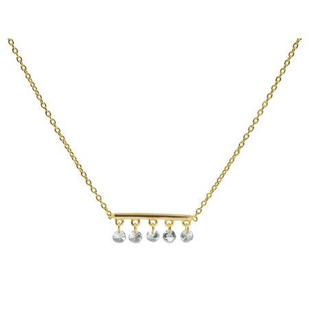 Netsilver Sterling Silver Thin Briolette CZ Bar Necklace dipped in GoldKivpage.com-Kenya