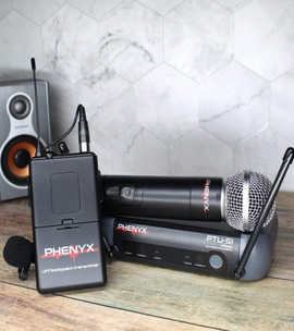 Phenyx Pro PTU-51 Entry-Level UHF Dual Wireless Microphone System-Portable Size-1 Handheld Mic 1 Headset 1 Lapel Mic 1 Bodypack-For DJ, Church, School, Presentation - Quality From USA - RivPage.Com