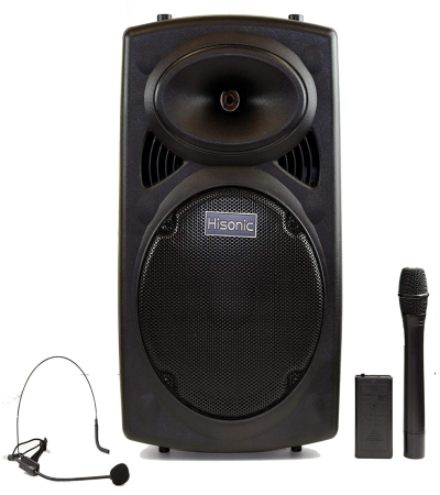 Hisonic HS420 Rechargeable Portable PA System with Dual Wireless Microphones with MP3 Player/Recorder, Bluetooth Connection and Tripod Included - Quality & Original Product All From USA - RivPage.Com