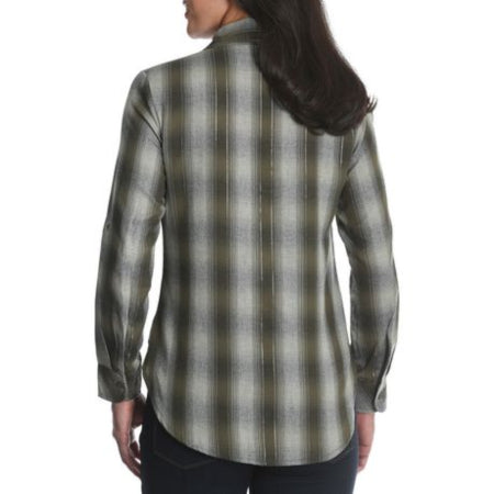 Lee Riders Womens Plaid Button down Long Sleeve Shirt with Lurex, feels great and easy to care for-RivPage.Com- Kenya