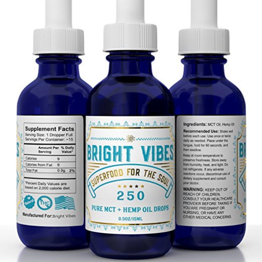 Pure Hemp Oil + MCT Oil Drops - 250mg - Best Hemp Oil for Anxiety, Sleep, Inflammation, Back Pain Relief - Bright Vibes Terpene Formula