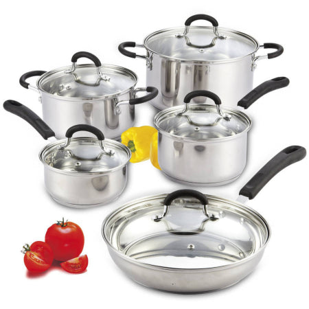 Kitchen Cookware Sets In Kenya - Mainstays 10-Piece Stainless Steel Cookware Set - Quality, Original With Warranty From USA. Rivpage.Com - Kenya