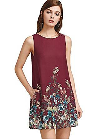 Floerns Women's Loose Floral Tank Dress Summer Sleeveless Dress-RivPage.Com Kenya
