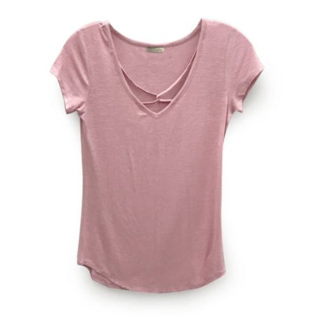 Nitrogen Fun rounded bottom v-neck Ladies T-SHIRT with criss-cross detail at front - RivPage.Com Kenya