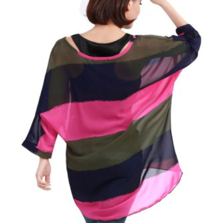 Unique Bargains Women's Boat Neck High Low Hem Chiffon Shirt pure color slim fit-RivPage.Com-Kenya