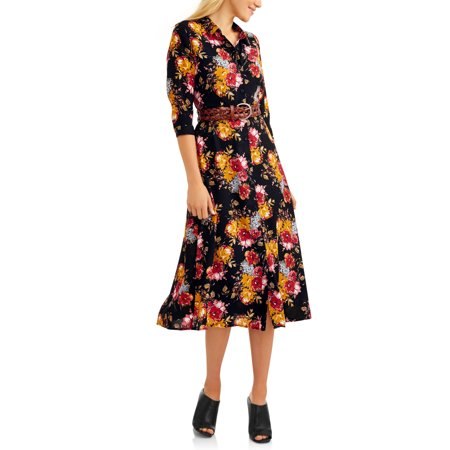 Time and Tru  Women's Button Up unique 100% polyster all wheather Maxi Dress -RivPage.Com  -Kenya
