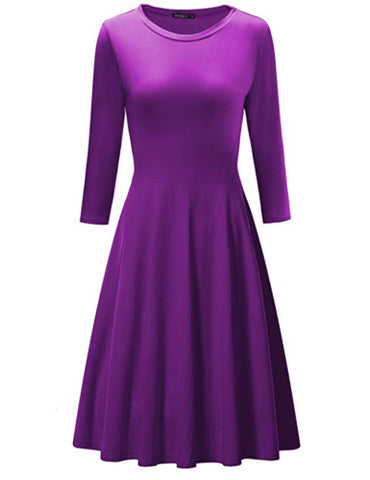 OUGES Women's 3/4 Sleeve Casual Cotton Flare Dress, Suitable for all seasons- RivPage.Com-Kenya