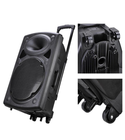 Portable Active PA Speaker Mic Guitar AMP Bluetooth USB SD LCD FM Remote w/ Wireless Microphone – Quality & Original From USA - RivPage.Com