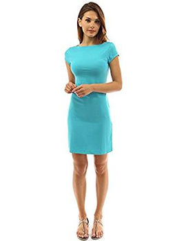 PattyBoutik Women's Boat Neck Cap Sleeve Dress