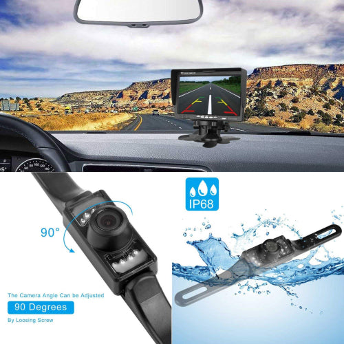 Emmako Backup Camera Wireless 7'' Monitor Kit For Car/SUV/RV/Van IP68 Waterpfoof