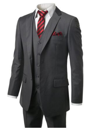 MONDAYSUIT Men's Modern Fit 3-Piece Suit Blazer Jacket Tux Vest & Trousers - Quality & Original Product All From USA - RivPage.Com