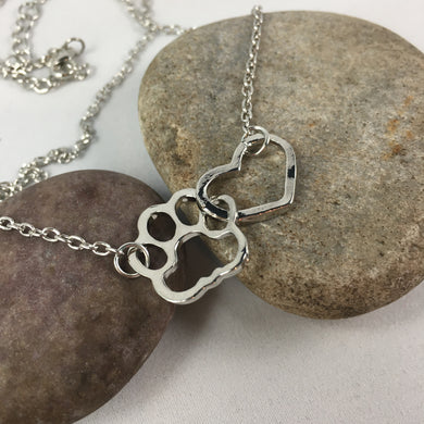 Paw Print Heart Necklace Pendant,  - Whaleycorn.com
