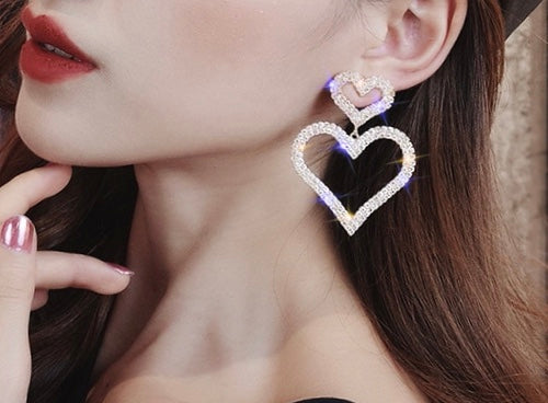 Heart Drop Earrings Statement, jewelry - Whaleycorn.com