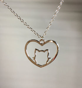 Cat Heart Necklace Pendant,  - Whaleycorn.com