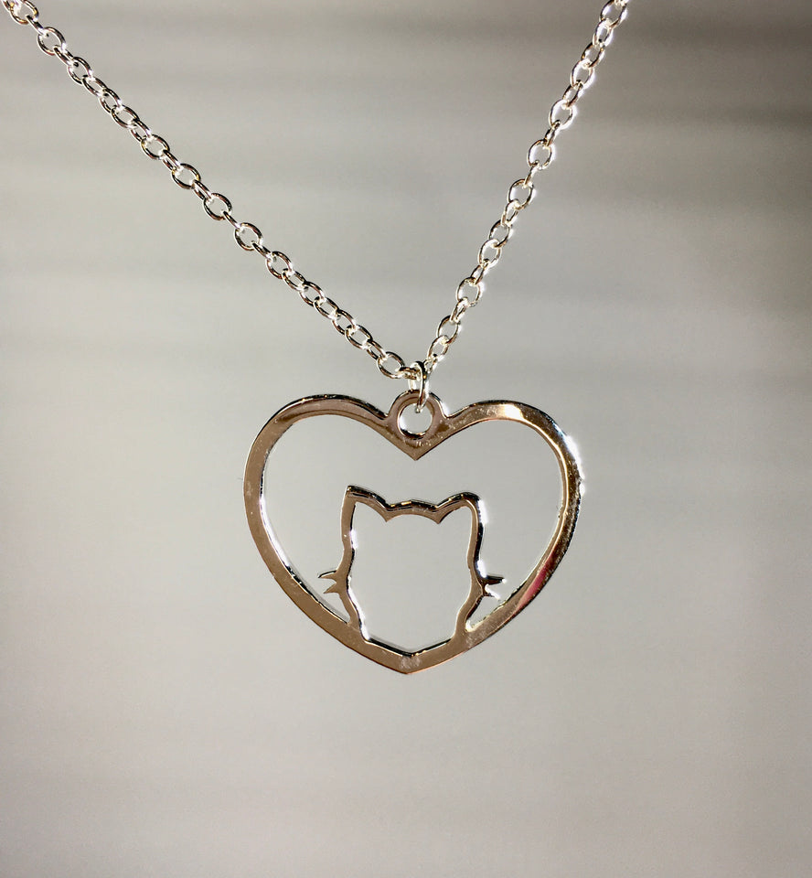 Cat Heart Necklace Pendant