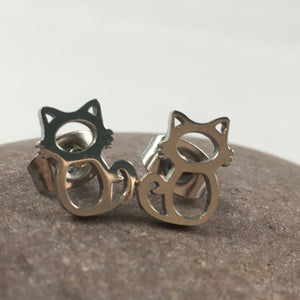 Mini Cat Stud Earrings,  - Whaleycorn.com