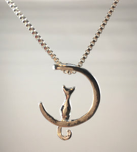 Cat & Moon Pendant Necklace,  - Whaleycorn.com
