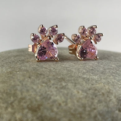 Pink Paw Print Stud Earrings Rose Gold Plated,  - Whaleycorn.com
